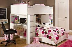 Kids Loft Bed Desk Book Shelf Toddler Room Dresser Home Furniture Storage Toybox
