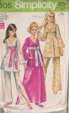 Simplicity 8505 Vintage 60's Sewing Pattern AWESOME Mod Twiggy V Neck Wrap Around Flared Mini Dress, Maxi Evening Gown, Sheer Lace Pants Big Ribbon Belt #MOMSPatterns