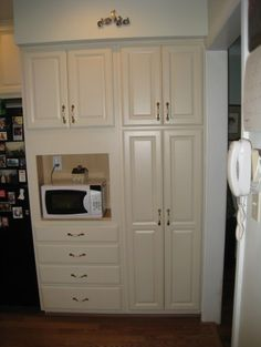Laurau0027s Kitchen   This Is The New Built In Pantry Cabinets With Opening For  Microwave