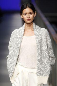 """Juana Burga modeling a thick jacquard cardigan in pale grey and off white from Sita Murt """"PURE"""" FW14/15 Collection showed at 080 Barcelona fashion week"""