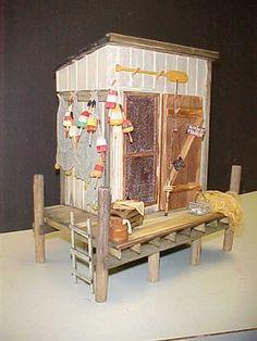 Amazing fishing shack by Deb Osephchk of R-Stuff Miniatures