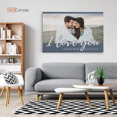 Get this amazing 'I Love You' custom photo canvas print for your loved one. Perfect for anniversary, birthday, Christmas and so much more! #iloveyou #anniversary #personalized #gifts #canvasprint