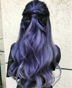 Lavender Hair With Gentle Highlights; Adorable S… Lavender Hair With Gentle Highlights; Adorable Silver Lavender Hair Trend in 2019 Hair Color Purple, Hair Dye Colors, Cool Hair Color, Black To Purple Ombre, Pastel Purple, Purple Bob, Dark Hair With Color, Under Hair Color, Unique Hair Color