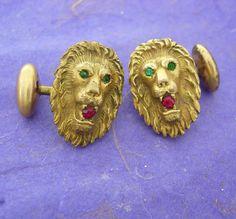 Antique Jeweled Lion Cufflinks green Eyes by NeatstuffAntiques