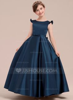 Ball Gown Floor-length Flower Girl Dress - Satin Sleeveless Scoop Neck With Bow(s) - JJ's House Frocks For Girls, Gowns For Girls, Dresses Kids Girl, Kids Frocks, Flower Girl Gown, Wedding Flower Girl Dresses, Flower Girls, African Dresses For Kids, Latest African Fashion Dresses