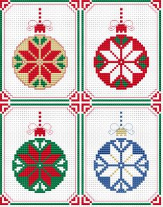 Set of four Christmas tree ornaments with different colors. Designed for Christmas cards and tags.