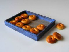 Bagels - Miniature in by Erzsébet Bodzás, IGMA Artisan Polymer Clay Miniatures, Dollhouse Miniatures, Tiny World, Food Categories, Bagels, Miniature Food, Artisan, Tray, Sweets