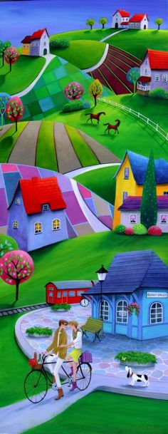 "Iwona Lifsches - ""Together Again"" Paintings I Love, Colorful Paintings, Images D'art, Art Fantaisiste, Arte Popular, Art Moderne, Naive Art, Whimsical Art, Painting & Drawing"