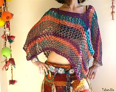 Cropped Boho Top Cropped sweater Summer Poncho Gypsy top