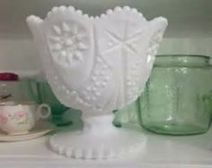 McKee Kemple Yutec Milk Glass Compo te - Milk Glass Compote ...
