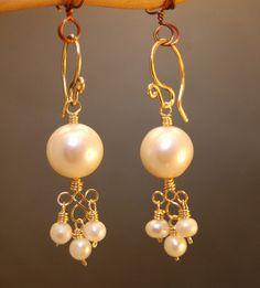 Collar 103 tres grandes perlas cadena plata por CalicoJunoJewelry