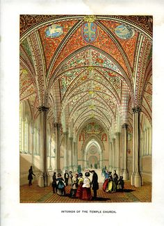1845 Interior of the Temple Church London by MarcadeVintagePrints, €21.97