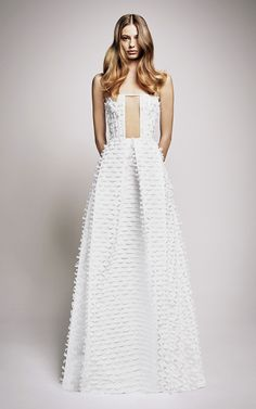 FOR THE DRESS || Alex Perry Resort 2017 | High neck full skirt textured lace gown || NOVELA BRIDE...where the modern romantics play & plan the most stylish weddings... www.novelabride.com #jointheclique @novelabride