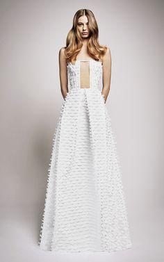 FOR THE DRESS || Alex Perry Resort 2017 | High neck full skirt textured lace gown || NOVELA BRIDE...where the modern romantics play & plan the most stylish weddings... www.novelabride.com #jointheclique @novelabride