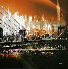 Mereditt.f: Brooklyn Bridge by Night New York Fertig-Bild 70x70 Wandbild modern