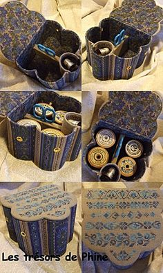 Note holes for thread. Cardboard Recycling, Diy Cardboard, Sewing Caddy, Sewing Box, Shabby Chic Crafts, Paper Gift Box, Sewing Baskets, Needle Book, Craft Box