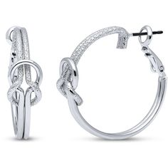 BERRICLE Silver-Tone Love Knot Fashion Hoop Earrings ($20) ❤ liked on Polyvore featuring jewelry, earrings, hoop earrings, women's accessories, hinged earrings, hinged hoop earrings, tie jewelry, silver tone jewelry and silvertone jewelry