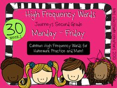 2nd Grade High Frequency Word Practice.  Correlates with HMH Journeys curriculum.  Easy homework and more!
