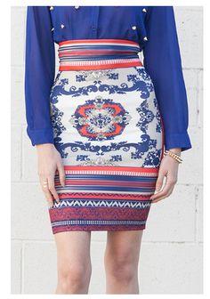 Bohemian High-Waist Skirt