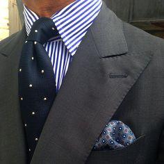 """violamilano:  @rickycarlo wearing a Viola Milano """"Snow Dots"""" 6-fold grenadine tie… Buy it online today at www.violamilano.com  #vm violamilano #handmade #madeinitaly #luxury #sartorial"""