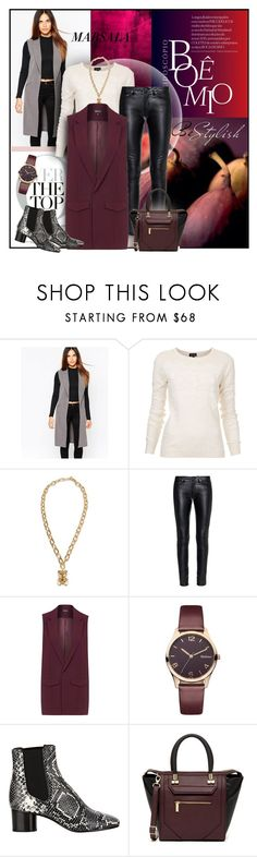 """sleeveless jacket"" by sheryl-lee ❤ liked on Polyvore featuring Warehouse, Topshop, Moschino, Yves Saint Laurent, Barbour, Isabel Marant and Danielle Nicole"