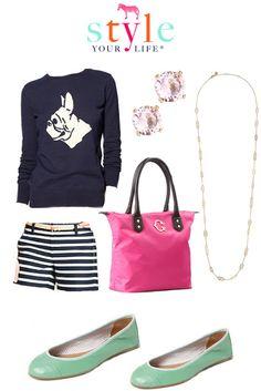 Striped shorts, bulldog sweater. I want to start wearing more sweaters. #sweater #cute fashion #timeless