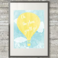 Oh The Places Youll Go Printable Dr Suess Quote by AllMyHeartArt, $5.00