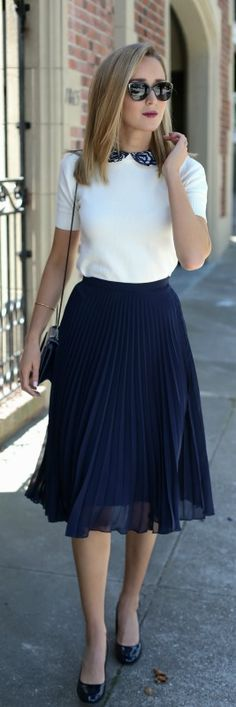 navy pleated midi skirt, ivory lace collar short sleeve sweater, navy patent leather rounded toe block heels, navy crossbody bag + sunglasses {topshop, alice + olivia, franco sarto, 3.1 phillip lim, prada}