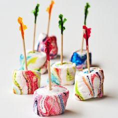 Rainbow homemade marshmallows. Would be great for a party!