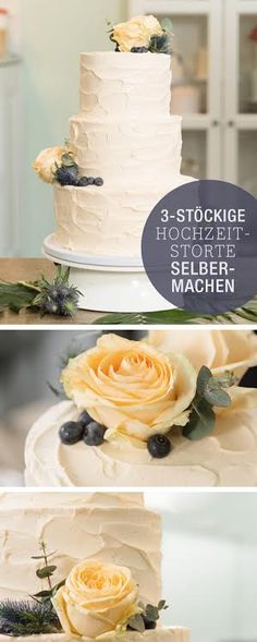 Recipe: Bake your own wedding cake, wedding cake flowers / recipe for wedding cake, layer cake, DIY Make Your Own Wedding Cakes, Diy Wedding Cake, Wedding Cakes With Flowers, Cake Flowers, Recipe Fo, Flower Food, Cakes And More, No Bake Desserts, No Bake Cake