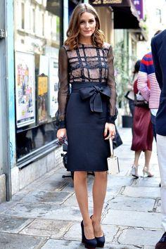 ispirazioni fashion strret style Olivia Palermo pencil skirt nera con fiocco