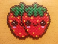 Kawaii strawberries hama perler beads by Factory Beads