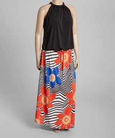 Look at this Red & Black Floral Sleeveless Maxi Dress - Plus on #zulily today!
