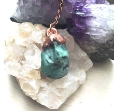 Electroformed Raw Emerald Necklace / Raw Emerald Pendant / Raw Crystal Necklace / Rough Emerald Necklace / Witchy Necklace / Copper Necklace by CrystalVisionGems on Etsy https://www.etsy.com/listing/462426842/electroformed-raw-emerald-necklace-raw