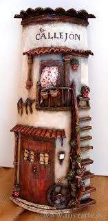 manualidades en tejas en relieve - Buscar con Google Tile Crafts, Decor Crafts, Diy And Crafts, Clay Houses, Ceramic Houses, Popsicle Stick Houses, Flower Pot People, Fairy Crafts, Play Clay