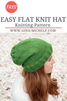 FREE knitting pattern for this Easy Flat Knit Hat. If you can knit a rectangle, you can make this hat! Knit Slouchy Hat Pattern, Easy Knit Hat, Beanie Knitting Patterns Free, Beanie Pattern Free, Loom Knitting, Knitted Hats, Free Knitting, Circular Knitting Patterns, Slouchy Beanie Hats