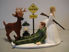 Custom Painted Camouflage Hunt Hunting Wedding Cake Topper Buck