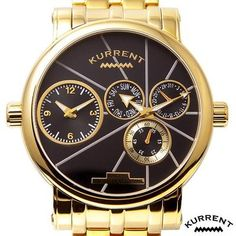 BRAND NEW AUTHENTIC KURRENT DUAL TIME GOLD STAINLESS STEEL WATCH RETAIL $745! NOW $129!!!