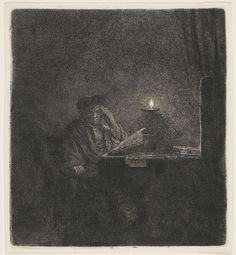 Rembrandt Harmensz van Rijn Dutch (Leiden 1606 - 1669 Amsterdam).  Scholar at a Table by Candle-light,  Etching | Harvard Art Museums - Check out all of the lines, nearly enough to make a mezzotint. S