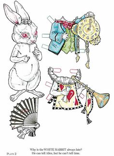 Alice in Wonderland rabbit paper doll