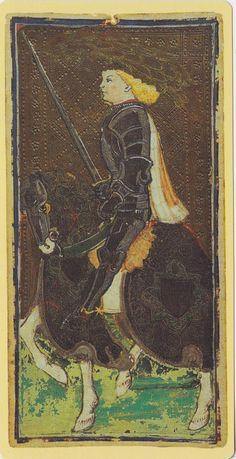 Knight of Swords -- Pierpont Morgan Visconti Sforza Tarocchi Deck, Italy, Milan, ca. 1450