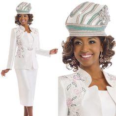 """Donna Vinci 11539 Colors: Ivory/Pink/Green Jacket Length: 28"""" Skirt Length: 31"""" Sizes: 12, 14, 16, 18, 20, 22, 24, 26 Matching Hat Donna Vinci 11539H http://www.divasdenfashion.com/Donna-Vinci-11539-p/don-11539.htm #DivasDenFashion #DonnaVinci #Spring #Ivory #Pink #Green"""