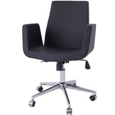 Claremont Office Chair In Black Leather   Memoky.com
