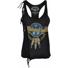 Rock Rebelz Motorcycle Club Fringe Tank Top (€22) ❤ liked on Polyvore featuring tops, shirts, tank tops, tanks, rock tops, rock shirts, rock tank tops, motorcycle tank tops and motorcycle tank