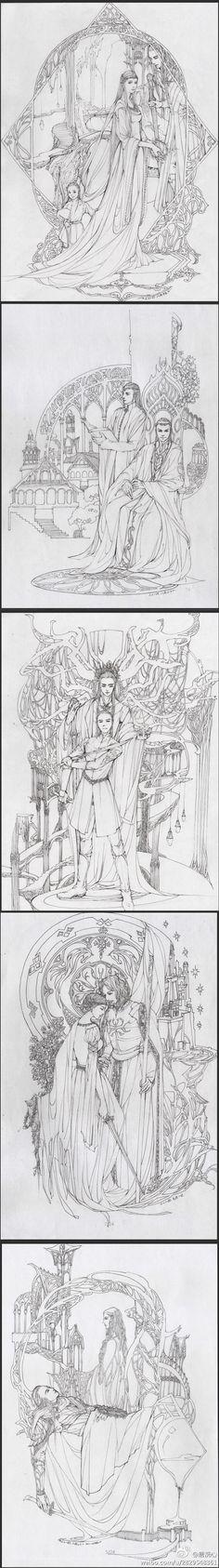 Трандуил с семье; Элронд и Линдир; Трандуил и Леголас; Эовин и Фарамир, Галадриэль