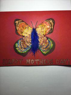 Pencil shaving art butterfly Mother's Day card idea colourful rainbow pretty