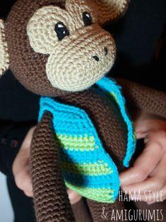 Crochet Animal Patterns, Stuffed Animal Patterns, Crochet Animals, Crochet Toys, Crochet Baby, Monkey Pattern, Amigurumi Tutorial, Free Pattern, Hello Kitty
