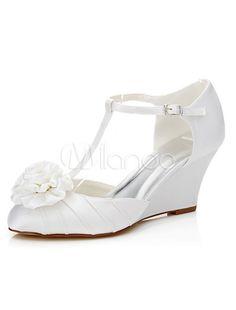 Sapatos de casamento branco T-cinta cetim flor elegante nupcial sandálias da Cunha - Milanoo.com