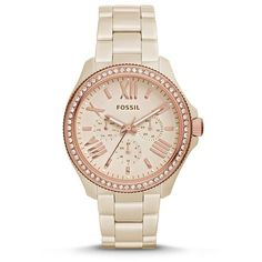 Fossil Cecile Multifunction Ceramic Watch Toasted Almond ($285) ❤ liked on Polyvore featuring jewelry, watches, fossil bracelet, vintage bracelet, vintage wristwatches, bracelet jewelry and roman numeral watches