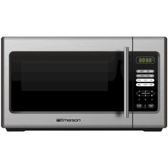 Emerson 900-Watt Microwave - Stainless Steel (MW9338SB) (475 VEF) ❤ liked on Polyvore featuring home, kitchen & dining, small appliances, kitchen, appliances, kitchen appliances, microwaves, stainless steel lazy susan, stainless steel pizza oven and pizza oven